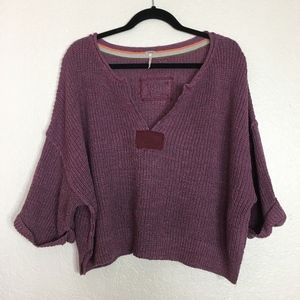 Free People purple crop oversized crop sweater